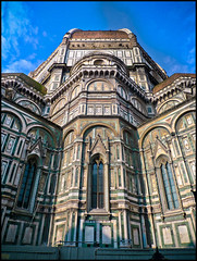 Basilica di Santa Maria del Fiore (Hetx) Tags: pink blue windows red sky italy white flower detail green church beautiful saint vertical stone clouds facade square religious florence italian europe european day arch exterior cathedral basilica famous mary gothic angles sunny arches symmetry architectural ornament elements tuscany worn symmetrical firenze weathered daytime balance tall walls panels marble piazza duomo ornate angular stmary narrow renaissance moro paneling brunelleschi florentine cathedralsquare fabris gothicrevival italianate ilduomo saintmary florencecathedral polychrome piazzadelduomo bascilica polychromatic polychromy filippobrunelleschi basilicadisantamariadelfiore basilicaofsaintmaryoftheflower