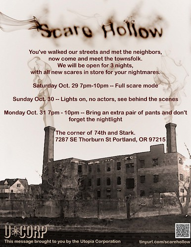 Portland Scare Hollow Halloween Haunted Event @ Mt Tabor Starts Tonight | Fully Actor Driven Yard Haunt | FREE, 7-10PM