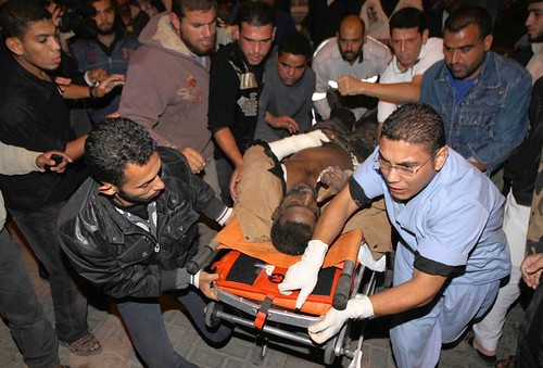 Palestinians wheel the wounded into the al-Najar hospital in Rafah following a evening Israeli air strike on the southern Gaza Strip on October 29, 2011. Israeli air raids killed 10 Palestinians. by Pan-African News Wire File Photos