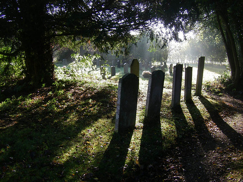 Shadows of gravestones