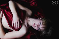 Emma, Red Satin (S.B.Davis) Tags: camera blue red black sexy umbrella canon studio eyes sigma right ii blonde info through satin left seductive 460 1850mm 600d 430ex triggers strobist flickraward yongnuo
