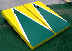 Bright Yellow & Green Matching Triangle Cornhole Boards