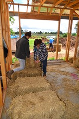 Bree and Anne making half bales