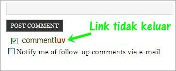 Link CommentLuv tidak keluar