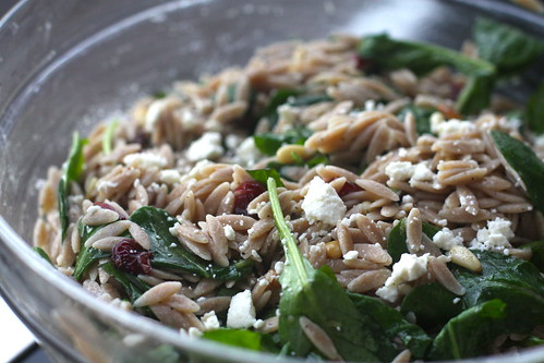 Orzo with Feta, Arugula and Cranberries