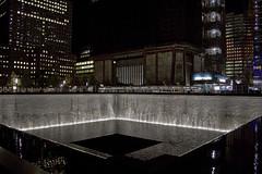 Ground Zero Memorial: North Tower (keroq) Tags: world new york city nyc tower fountain night photography freedom memorial manhattan nine 911 center 11 september national trade eleven