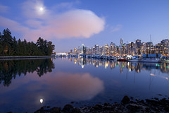 Oh What's In the Sky? (Claire Chao) Tags: november blue sunset canada cold color colour reflection tree colors vancouver mirror boat twilight glow cityscape colours purple harbour dusk britishcolumbia peaceful calm seawall walkway stanleypark chilly boathouse tranquil coalharbor citylight aftersunset calmwater mirrorreflection sunsetview cloudshape canoneos5dm