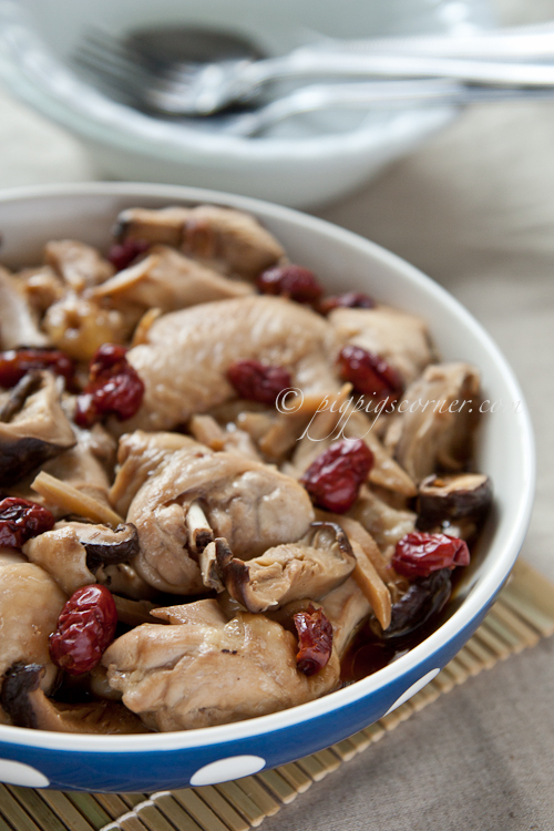 Steamed Chicken with Dried Mushrooms and Red Dates