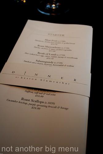 Dinner by Heston - Menu Nov 2011