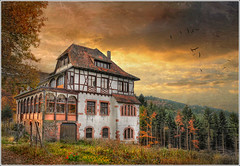 """Belle vue"" restaurant. (Jean-Michel Priaux) Tags: autumn trees house france tree home nature forest photoshop automne painting restaurant nikon whitehouse alsace paysage hdr vosges d90 priaux thannenkirch mygearandme ringexcellence"