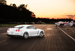 R35 GTR: GOJIRA (Jordan Donnelly) Tags: sunset sky car skyline clouds speed canon airport nissan low wheels fast first drop class jordan exotic 5d claude rims runway supercar jdm gojira gtr stance donnelly r35 fitment tw0r canibeat