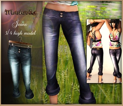 :Mashooka: High jeans {aqua wash, 155 lindens by Cherokeeh Asteria