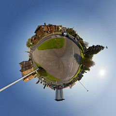 Mini planets : Hunger Hill Roundabout, Poole (Mark Rigler UK) Tags: world uk england sky panorama tree animal circle word photo place little mark pano small 360 mini dorset round planet polar winchester poole 360 stereographic rigler sterte