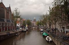 Oudezijds Voorburgwal, Amsterdam (lev.glick) Tags: travel bridge holland church amsterdam architecture boat canal nikon oldchurch hdr clowds sintnicolaaskerk oudekerk d90 sigma1020 stnicholasschurch redlightsdistrict nikond90