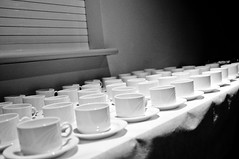gathering (nivekhmng) Tags: party blackandwhite food white black coffee table tea cups gathering plates x100