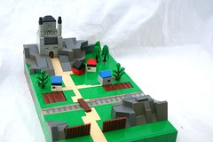 Countryside Keep (Ru Corder) Tags: castle landscape village lego mini micro keep farms moc microscale miniscale
