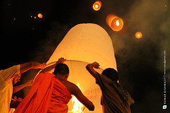 Prabarana Purnima: A festival of lights (Kumar Bishwajit) Tags: people moon man hot colour night religious fire photo asia symbol god buddha buddhist air south ballon religion buddhism lord full blessing dhaka buddist bangladesh purnima prabarana