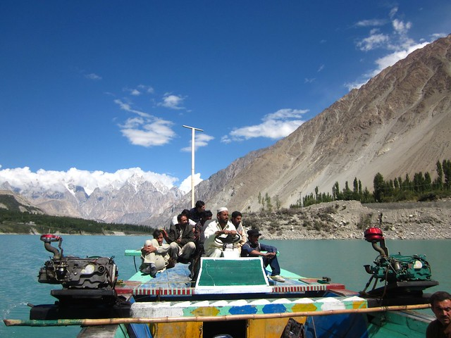 Crossing Attabad lake, Pakistan.