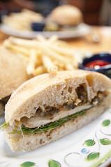 Grilled Chicken Sandwiches w/ Mushroom Duxelle, Gruyere, Herbes de Provence Mustard, Caramelized Onions, Restaurant Lulu, San Francisco