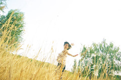 With the world being round, who needs a straight horizon? () Tags: selfportrait me jumping forestpark selftimer goldengrass