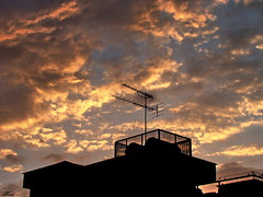 Sky With Beautiful Clouds (Mari Rasti) Tags: sunset sky cloud color building leave love beautiful fence alone sad iran god magic shiraz cry antenna sonyh50 marirasti