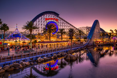 Paradise Pier at Dusk (Justin in SD) Tags: california light sunset color canon disneyland disney adventure boardwalk rollercoaster midway screaming dca hdr mania paradisepier screamin photomatix colorefex canon60d