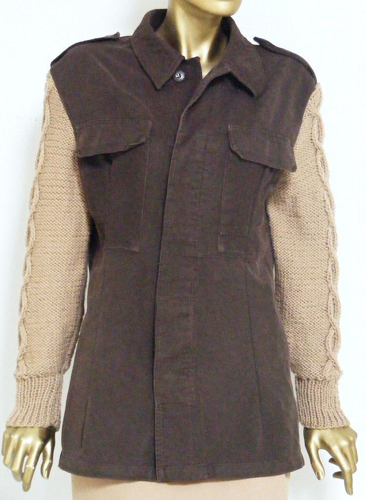giacca di cotone con maniche in maglia di lana