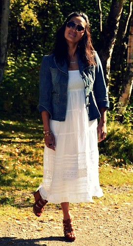 white beach dress, jean jacket