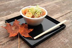 Dumpling Soup  at an Outdoor Table (Spice  Trying to Catch Up!) Tags: trip travel autumn food art japan canon photography eos soup photo leaf october asia flickr image outdoor picture 7d tray   dumpling waribashi 10   2011 woodentable dumplingsoup    tochigiprefecture suiton    nikkoshi  disposablechopstick