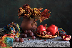 The Rose Is Out Of Town (panga_ua) Tags: autumn stilllife art fall composition scarf canon scarlet maple berry october ceramics cheek artistic handmade availablelight ukraine slice pomegranates edge grapes granite jug arrangement plump tabletop oldfashioned bodegon fallenleaves naturemorte artisticphotography naturamorta emilydickinson artphotography richcolors sharpfocus breakingaway wickerplate stonetabletop nataliepanga theroseisoutoftown rosesmadefrommapleleaves