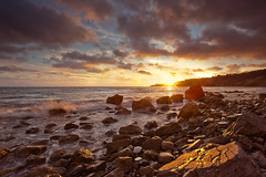 rocky shore (Andy Kennelly) Tags: ocean california light sunset beach wet colors clouds coast long exposure waves pacific cove rocky shore cracks splash abalone verdes palos