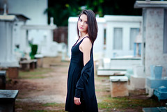 (Isai Alvarado) Tags: portrait cinema black blur hot sexy film girl cemetery grave graveyard fashion dark movie death model nikon focus shoes dof dress bokeh 85mm cine cinematic alejandra leggins d80