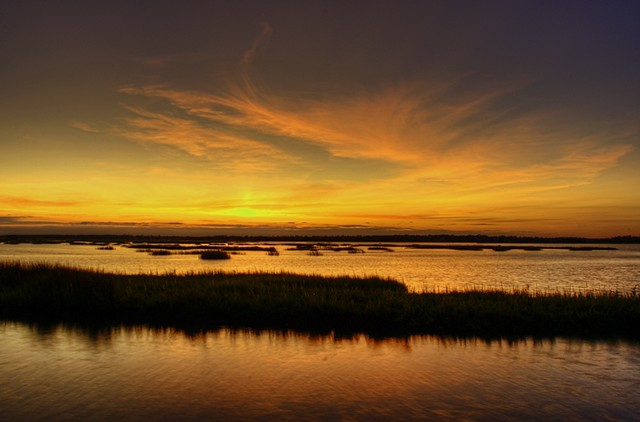 banks channel two sunset_sm By Steve B in Surf City NC