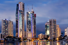 city at twilight (Pawel Papis Photography) Tags: city light sky cloud building water night plane gold coast australia