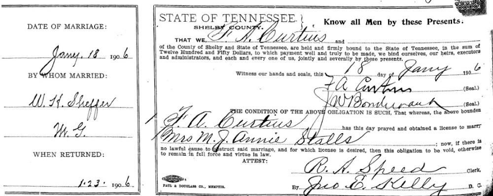 "Mary J ""Annie"" Bondurant and Frank A Curtius Marriage Record"