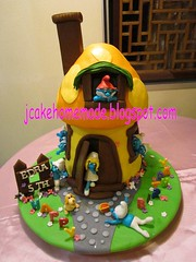 Smurfs cottage birthday cake (Jcakehomemade) Tags: puppy figurines birthdaycake smurfette homemadecake brainysmurf papasmurf noveltycake kidsbirthdaycake heftysmurf happy5thbirthday customisedcake dreamysmurf jcakehomemadeblogspotcom jessicalaw 3dcartooncake smurfscottagebirthdaycake smurfsbirthdaycake mushroomhousebirthdaycake scaredysmurf nosysmurf cakemadetoorder edrasbirthdaycake