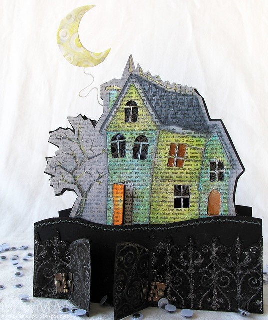 Hero Arts haunted house window card by mel stampz