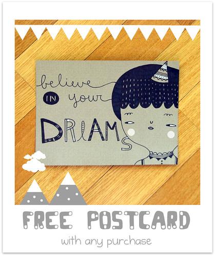Hand Drawn Postcard by Pinkrain Indie Design