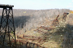 Fallen sections of the bridge (byrdiegyrl) Tags: statepark railroad bridge october bradford pennsylvania viaduct tornado kinzua 2011 knockedover mckeancounty kushequa