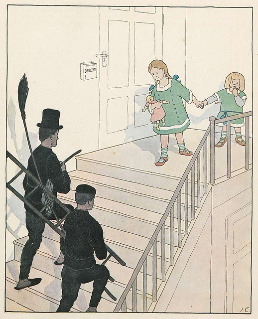 chimney sweeps climb stairs in house towards children on the landing