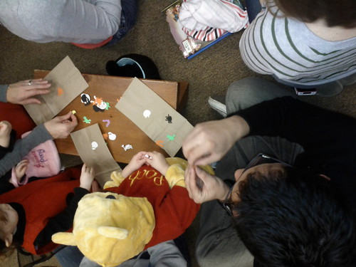 Decorating Halloween Bags at Storyime