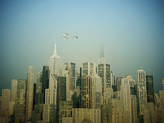 ufo over the city (Andrea Crisante) Tags: new york city nyc sunset sky urban panorama mars usa building water mystery skyline architecture modern night america skyscraper square town office high cityscape view state top manhattan space united over objects landmark center tourist panoramic aerial ufo aliens historic midtown business american commercial empire jersey metropolis hudson financial metropolitan