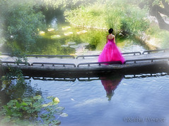 Dreaming (kweaver2) Tags: bridge reflection water girl garden san texas dress path dream japaneseteagarden antonio cs5 kathyweaverphotography
