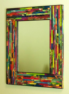 Colorful painted recycled paper framed mirror
