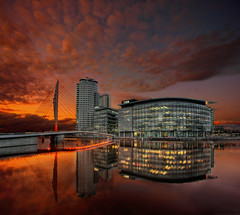 Salford Quays Sunset (Asim237) Tags: city sky clouds canon reflections media bbc 1ds salford quays asim237