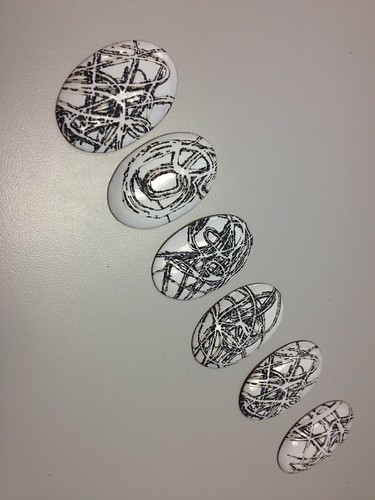 digital sketches laser engraved enamel brooches