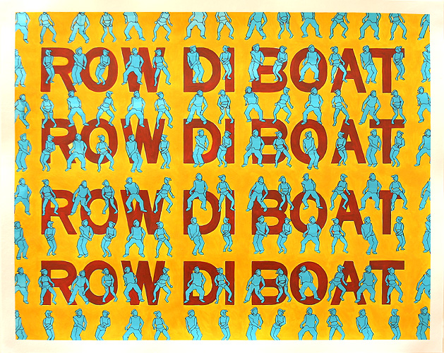 Row di Boat, Acrylic & Ink on Paper, 50cm x 40cm by Robin Clare