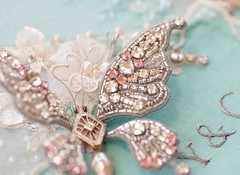 Breakfast at Tiffany's: One Wing (Plays With Needles) Tags: tiara glitter diamonds butterfly audreyhepburn needlework lace embroidery sparkle chandelier jewels embroidered bows beading chantilly tiffanyblue beadwork breakfastattiffanys trumancapote stumpwork