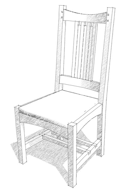 Arts And Crafts Chair Pencil Sketch