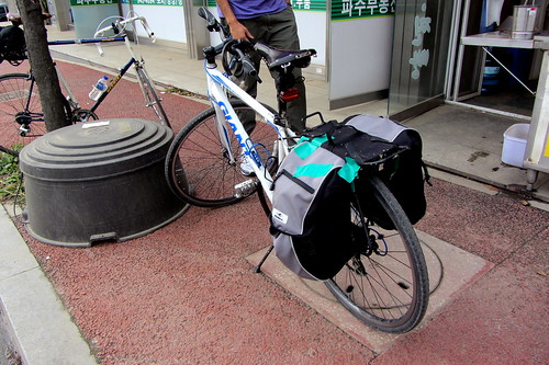 Terrible pannier repair with gaffa tape.